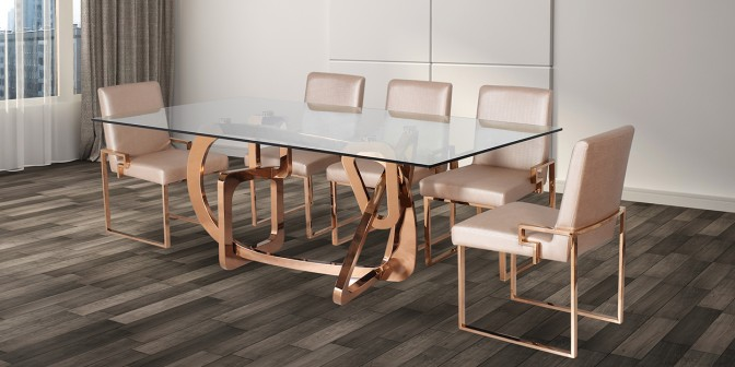 Abril 8 Seater Rose Gold Dining Table With Escabel Leatherette Rose Gold Dining Chair Main Image