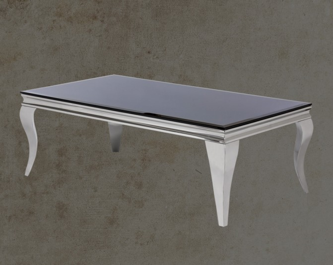 Voz Coffee Table With Stainless Steel Frame And Legs Front View