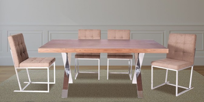 Luana 6 Seater Walnut Dining Table With Belicia Dining Chair Main Image