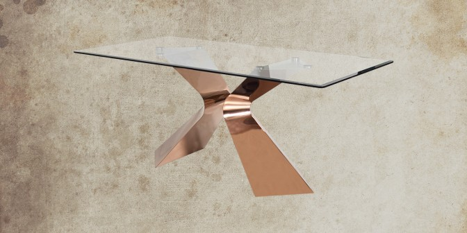 Romina 6 Seater Rose Gold Dining Table Main Image