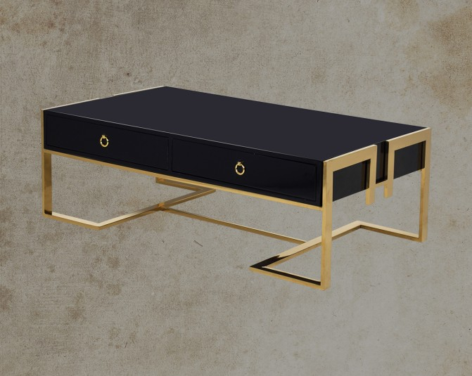 Mireya Coffee Table In Black And Gold Plated Stainless Steel Legs Cross View