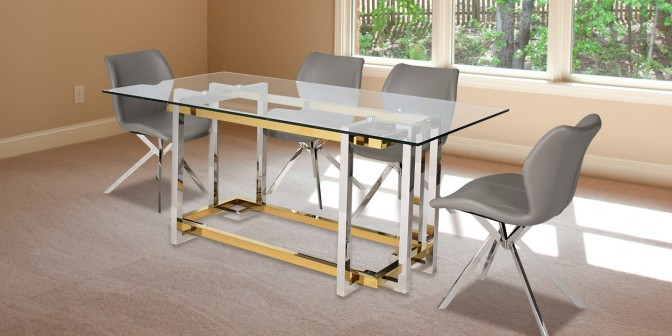 Incencio 6 Seater Stainless Steel Dining Table With Casey Dining Chair Main Image