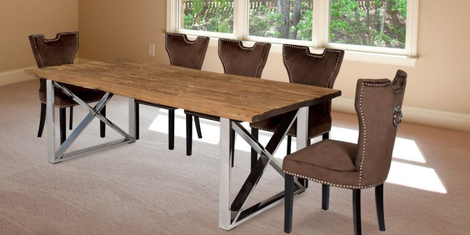 Madera 8 Seater Solid Wood Dining Table With Alarico Fabric Dining Chair Main Image