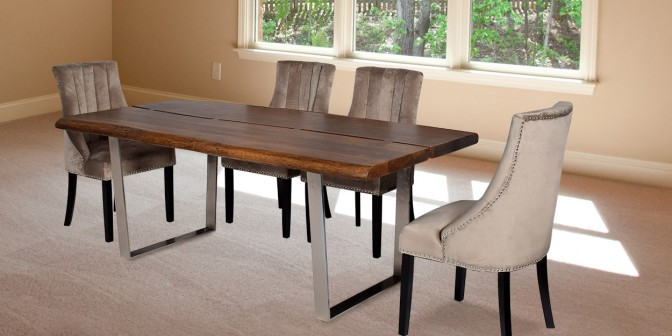 Lorenzo 6 Seater Solid Wood Dining Table With Emesta Fabric Dining Chair Main Image
