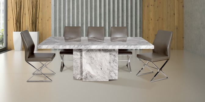 Katia 8 Seater Marble Dining Table With Morisa Leatherette Stainless Steel Dining Chair Main Image