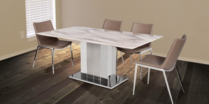 Edenia 6 Seater Marble Dining Table With Santino Dining Chair Main Image