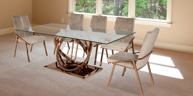 Itsaso 8 Seater Rose Gold Dining Table With Linus Fabric Dining Chair Main Image
