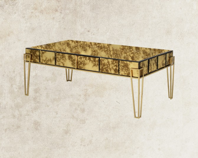 Adoncia Coffee Table With Gold Plated Stainless Steel Base Back View