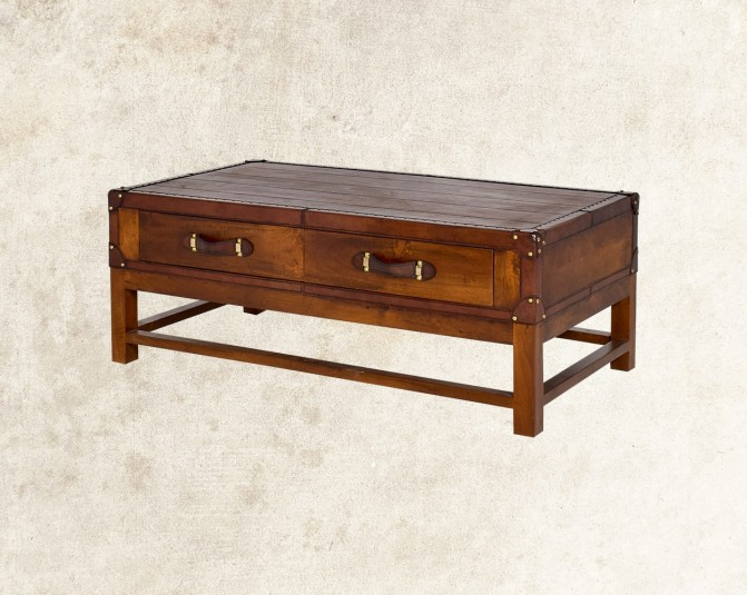Cariann Coffee Table In Wood With Vintage Look Cross View