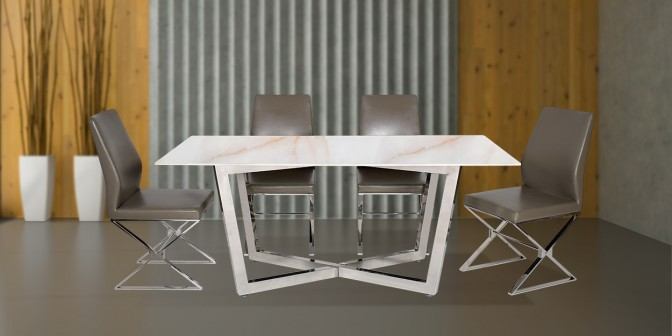 Berta 6 Seater Dining Table With Morisa Leatherette Stainless Steel Dining Chair Main Image