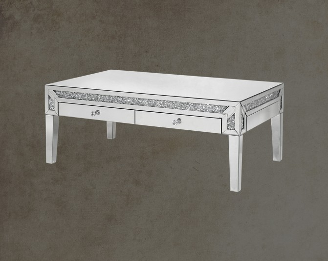 Leocadia Coffee Table With Silver Mirror Open Drawer View