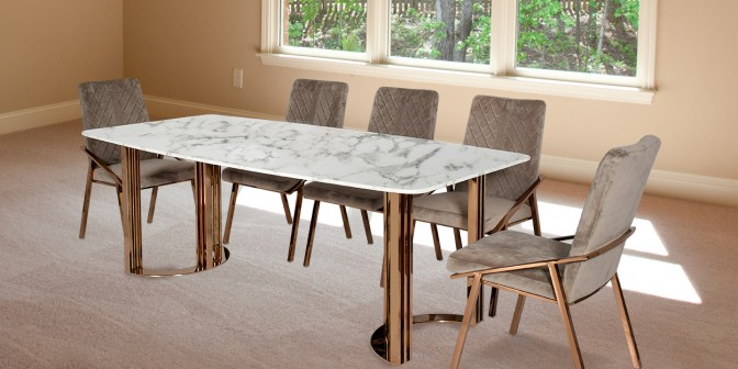 Felisa 8 Seater Marble Dining Table With Linus Fabric Dining Chair Main Image