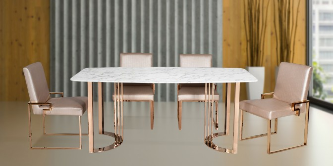 Felisa 6 Seater Marble Dining Table With Escabel Leatherette Rose Gold Dining Chair Main Image