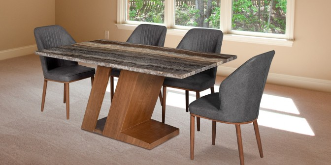 Maisa 6 Seater Marbel Dining Table With Eviana Leatherette Dining Chair Main Image