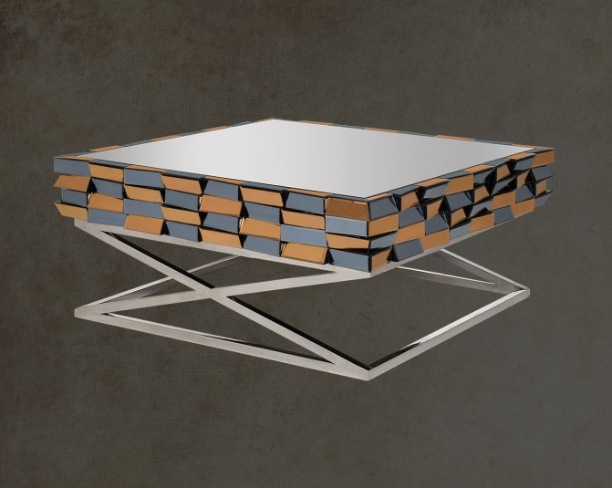 Ainara  Coffee Table With Stainless Steel Legs In Cross Design Main Image