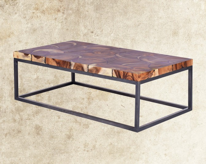 Palmor Coffee Table With Acacia Wood Top Front View