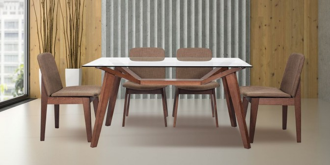 Mariana 6 Seater Walnut Dining Table With Rebeca Dining Chair Main Image