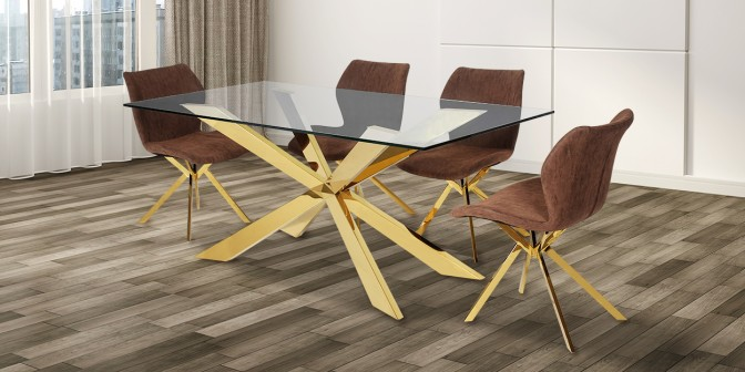Briella 6 Seater Gold Dining Table With Adalira Leatherette Gold Dining Chair Main Image