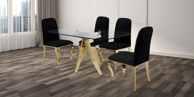 Cidro 6 Seater Gold Dining Table With Cristian Fabric Dining Chair Main Image