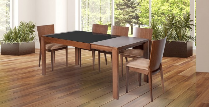 Fausto 6 to 8 Seater Expandable Walnut Dining Table With Rosalie Dining Chair Main Image