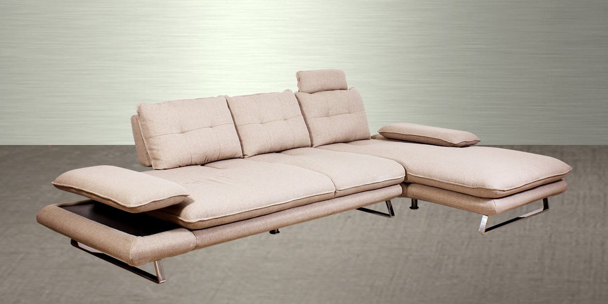 Litera Fabric Sectional Sofa Side View