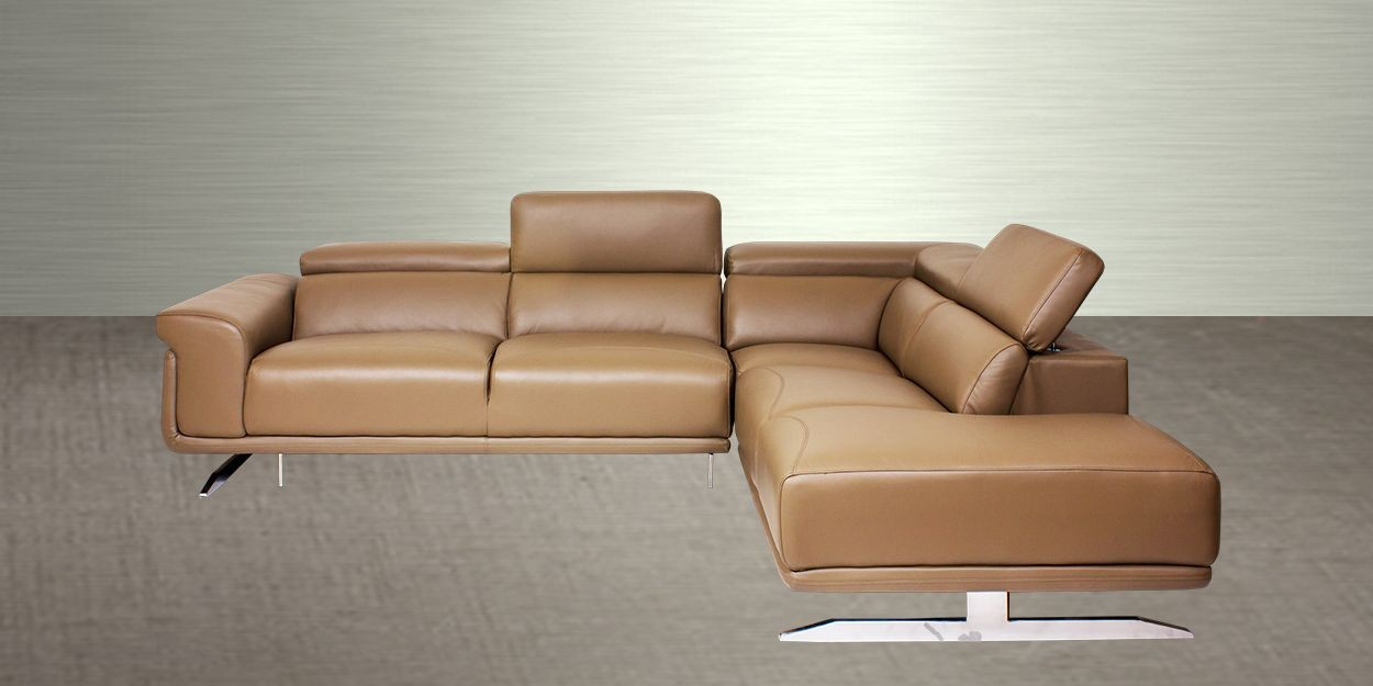Ligado Leather Sectional Sofa Side View