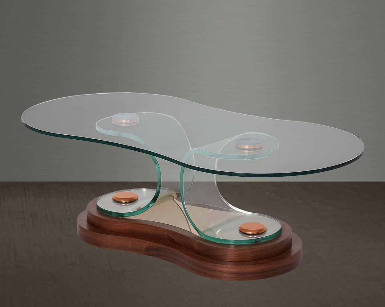 Matos Coffee Table In Clear Bent Glass On Walnut Veneer Base Front View