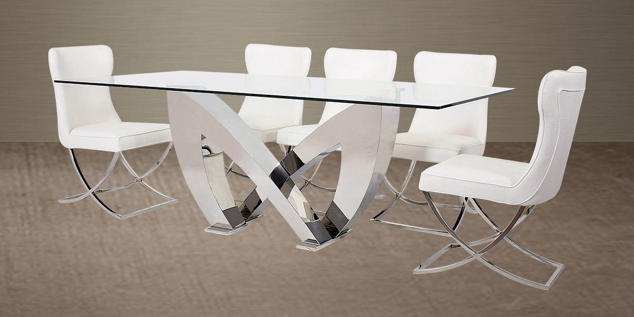 ALONSO 8 SEATER STAINLESS STEEL DINING TABLE WITH CADERA STAINLESS STEEL  DINING CHAIR