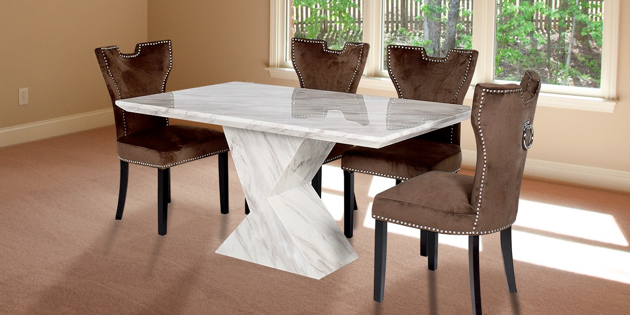 Enrica 6 Seater Marble Dining Table With Alarico Fabric Dining Chair Main Image