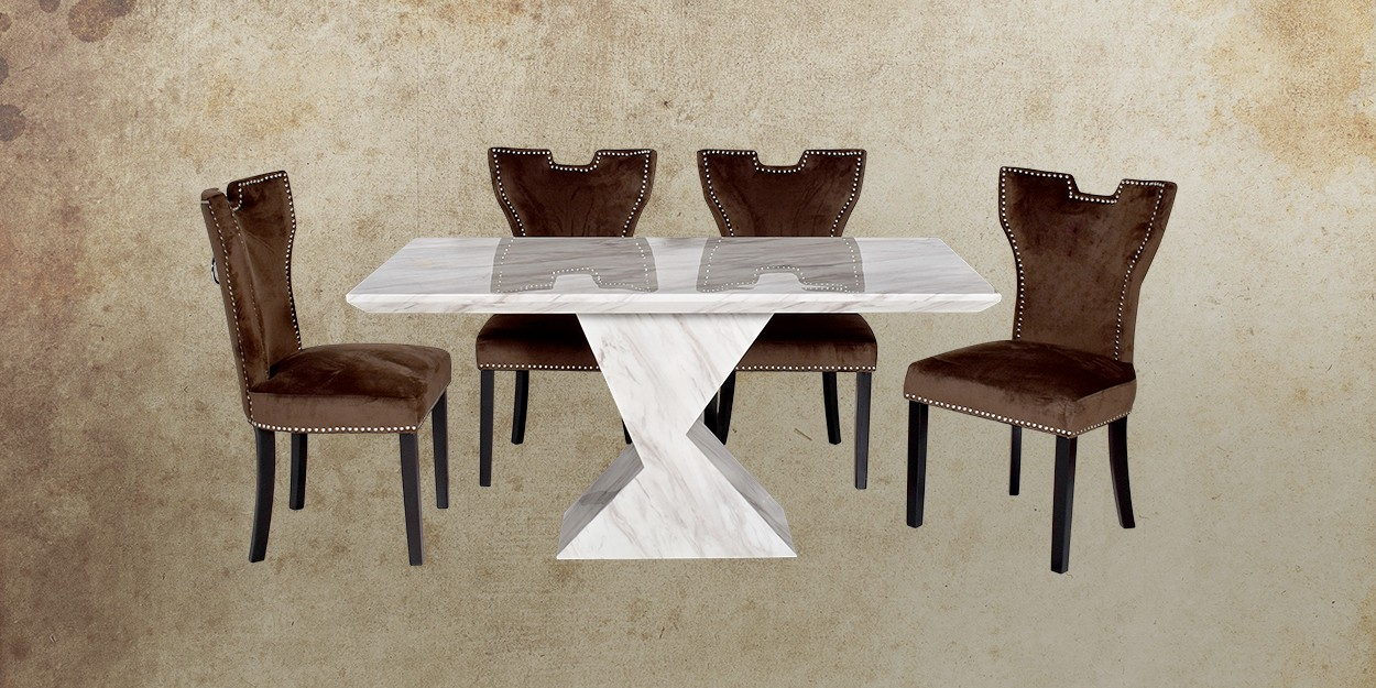 Enrica 6 Seater Marble Dining Table With Alarico Fabric Dining Chair Front View