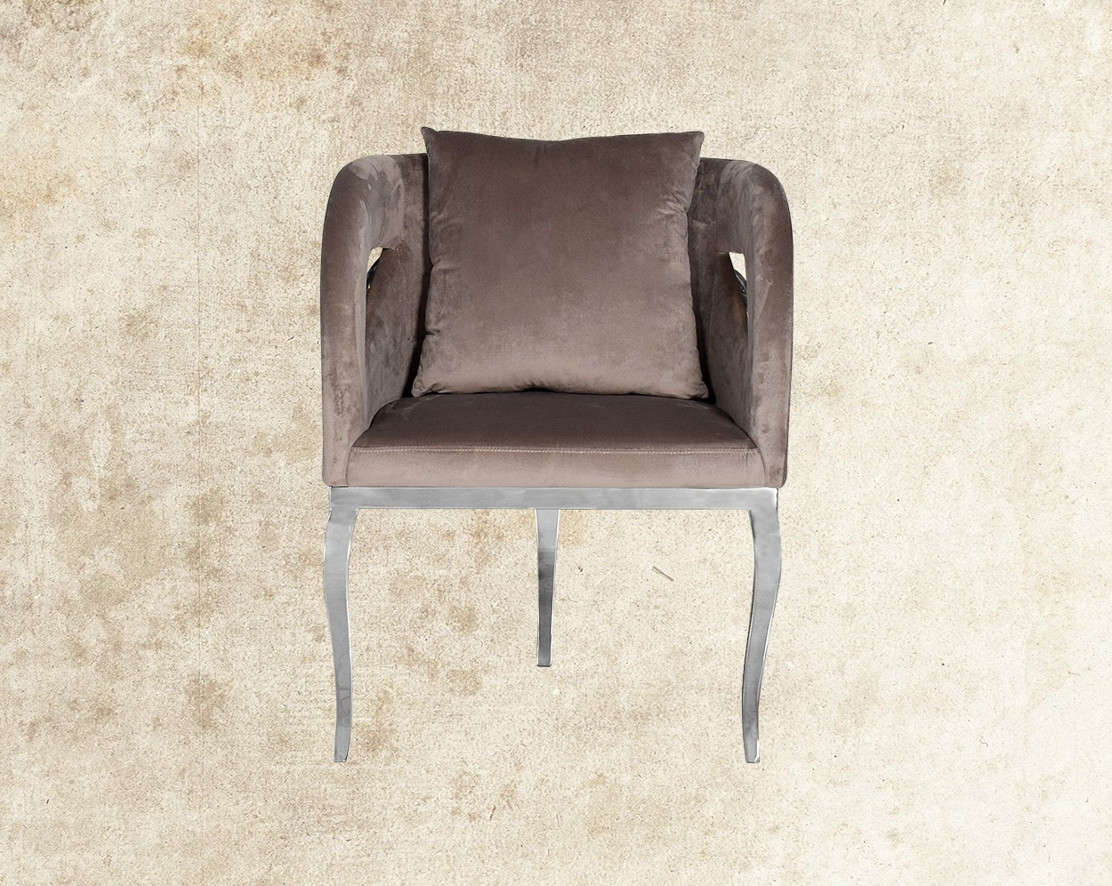 Cariann Fabric Stainless Steel Leisure Chair Front View