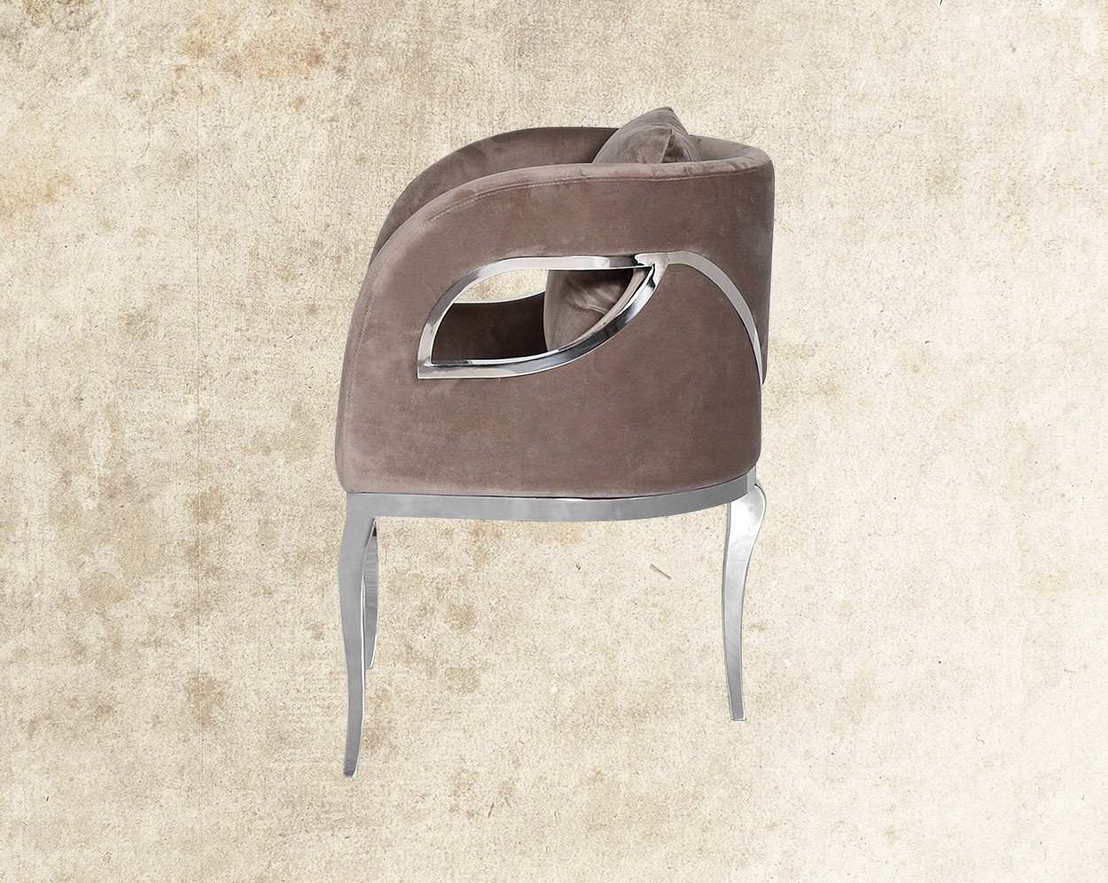 Cariann Fabric Stainless Steel Leisure Chair Side View