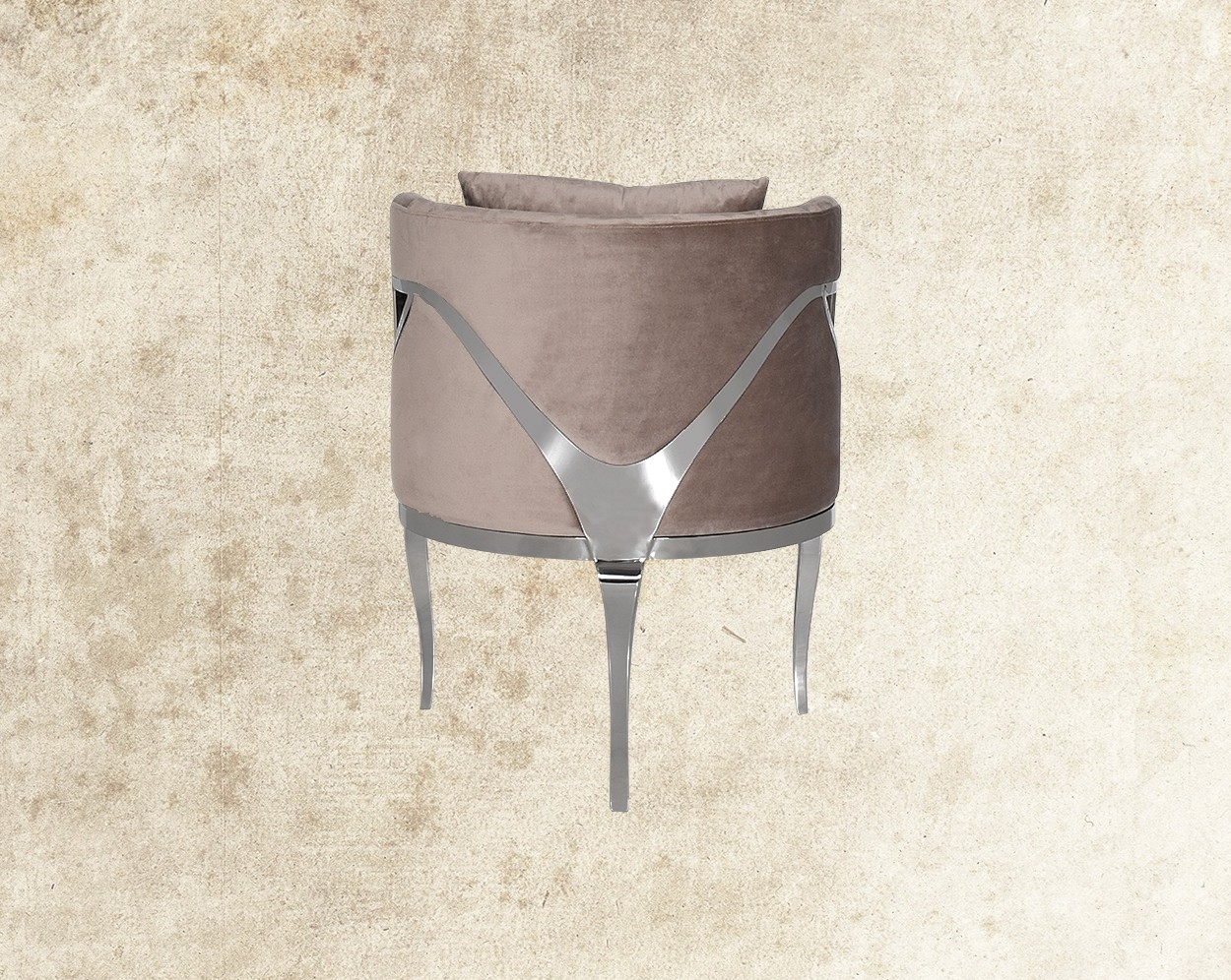 Cariann Fabric Stainless Steel Leisure Chair Back View