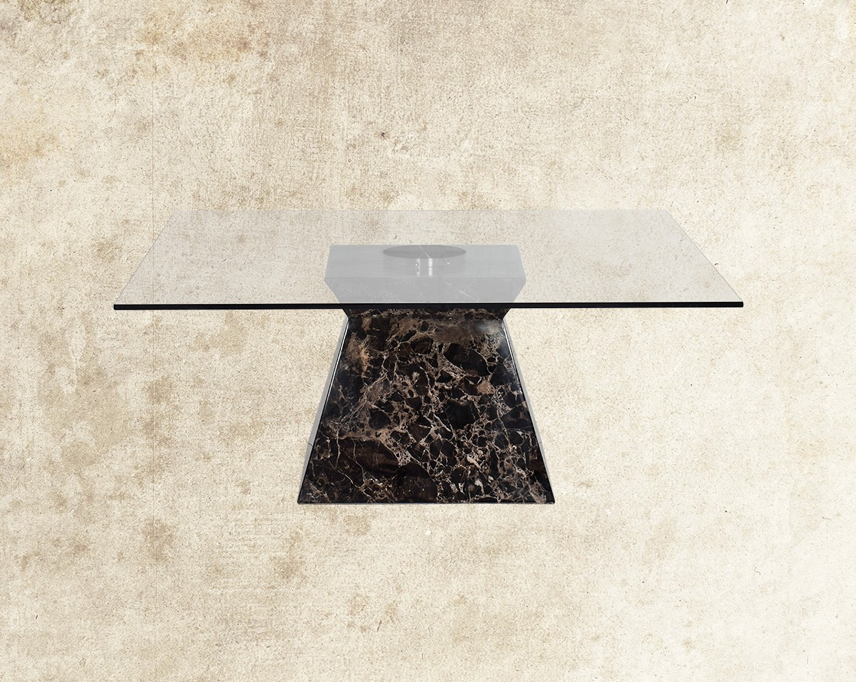 Curcio Coffee Table With Brown Imitation Marble Base Front View