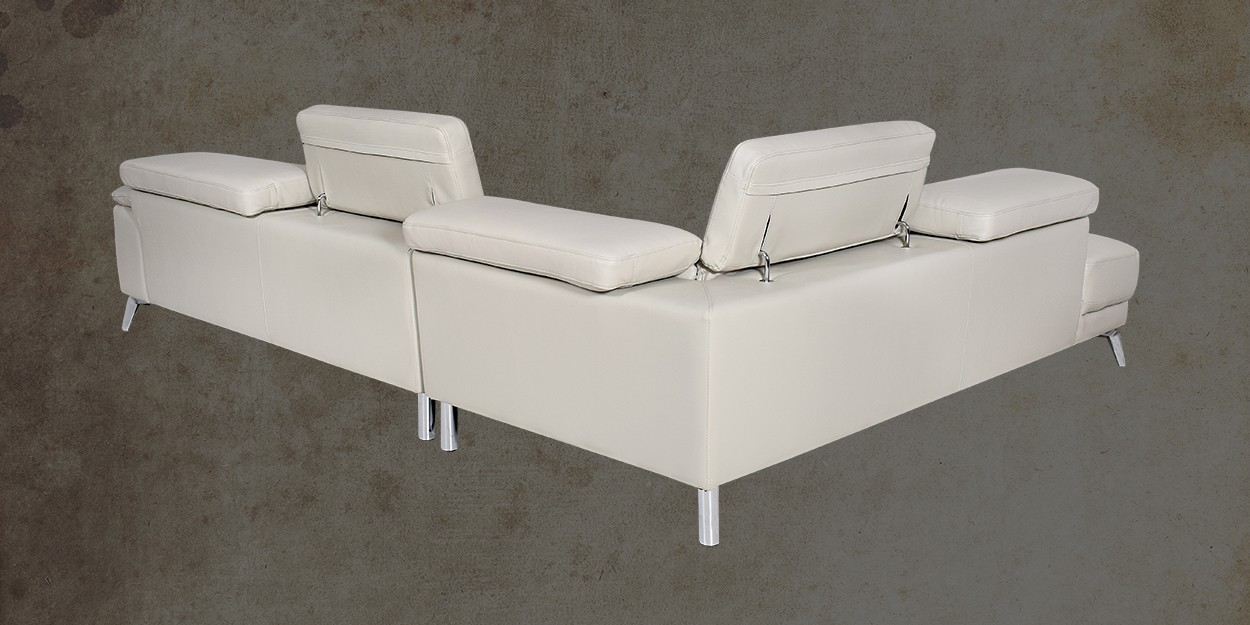 Savonna Leather Sectional Sofa Side Back View