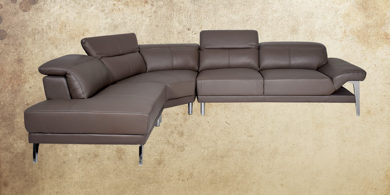 Roslyn Leather Sectional Sofa Left View
