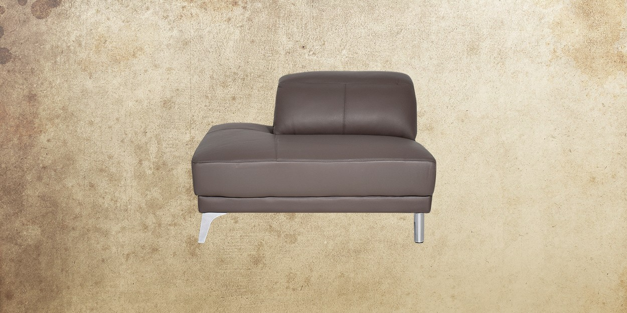 Roslyn Leather Sectional Sofa Single Sofa Front View