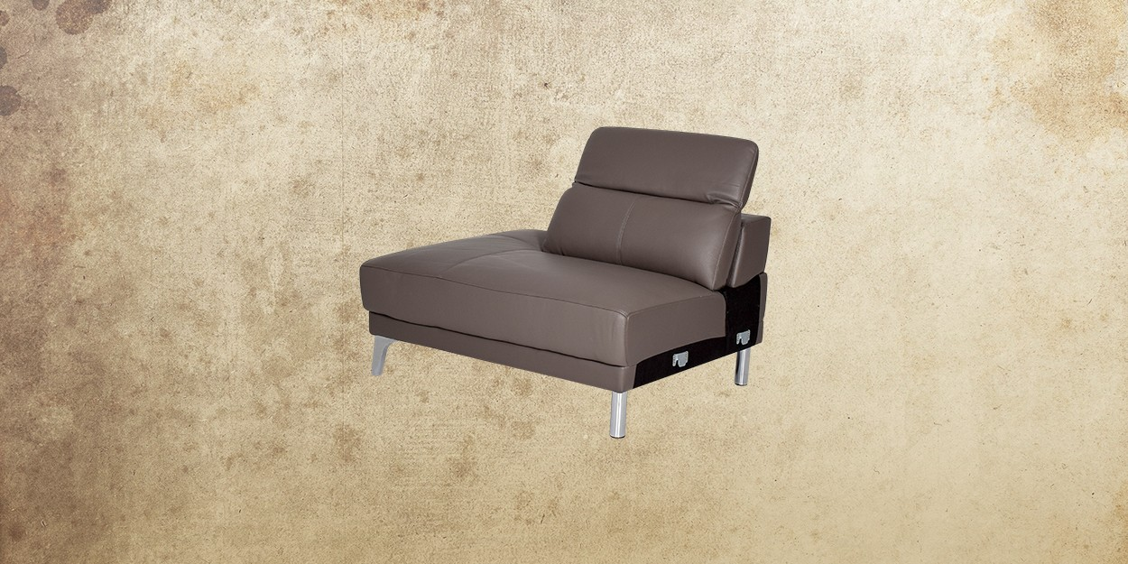 Roslyn Leather Sectional Sofa Single Sofa Side View
