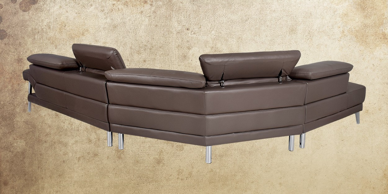 Roslyn Leather Sectional Sofa Back View
