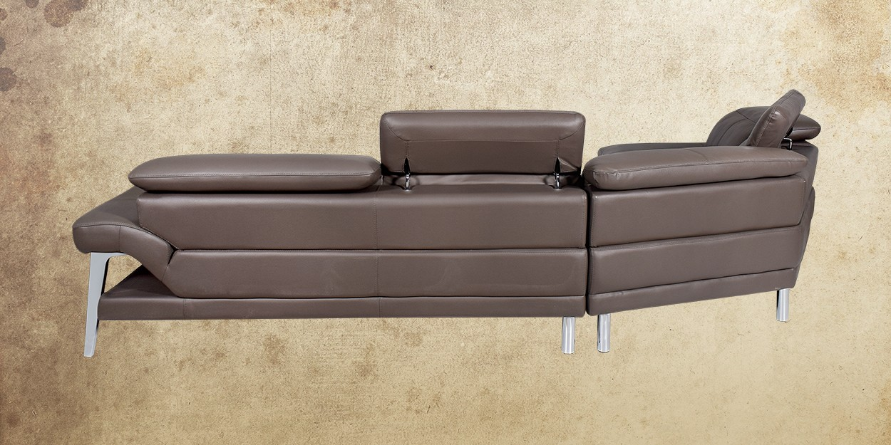 Roslyn Leather Sectional Sofa Left Back View