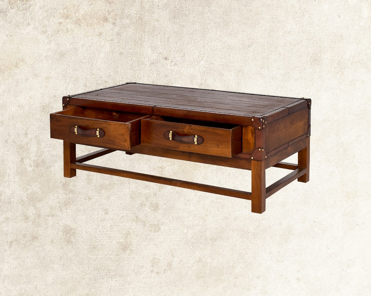 Cariann Coffee Table In Wood With Vintage Look  Front View