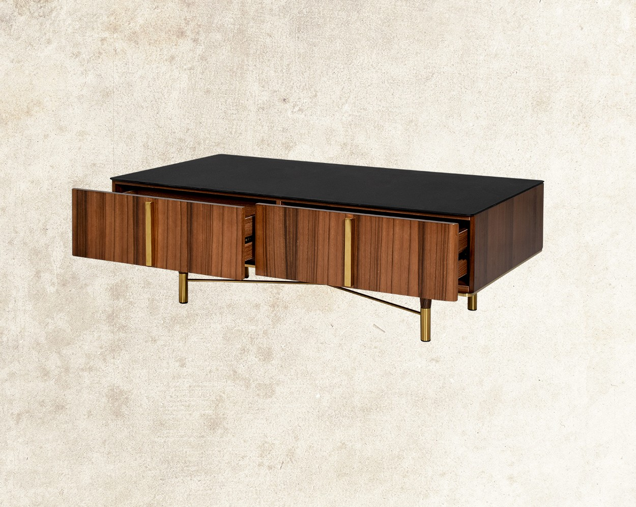 Austin Coffee Table With Black Frosted Glass Top Cross View