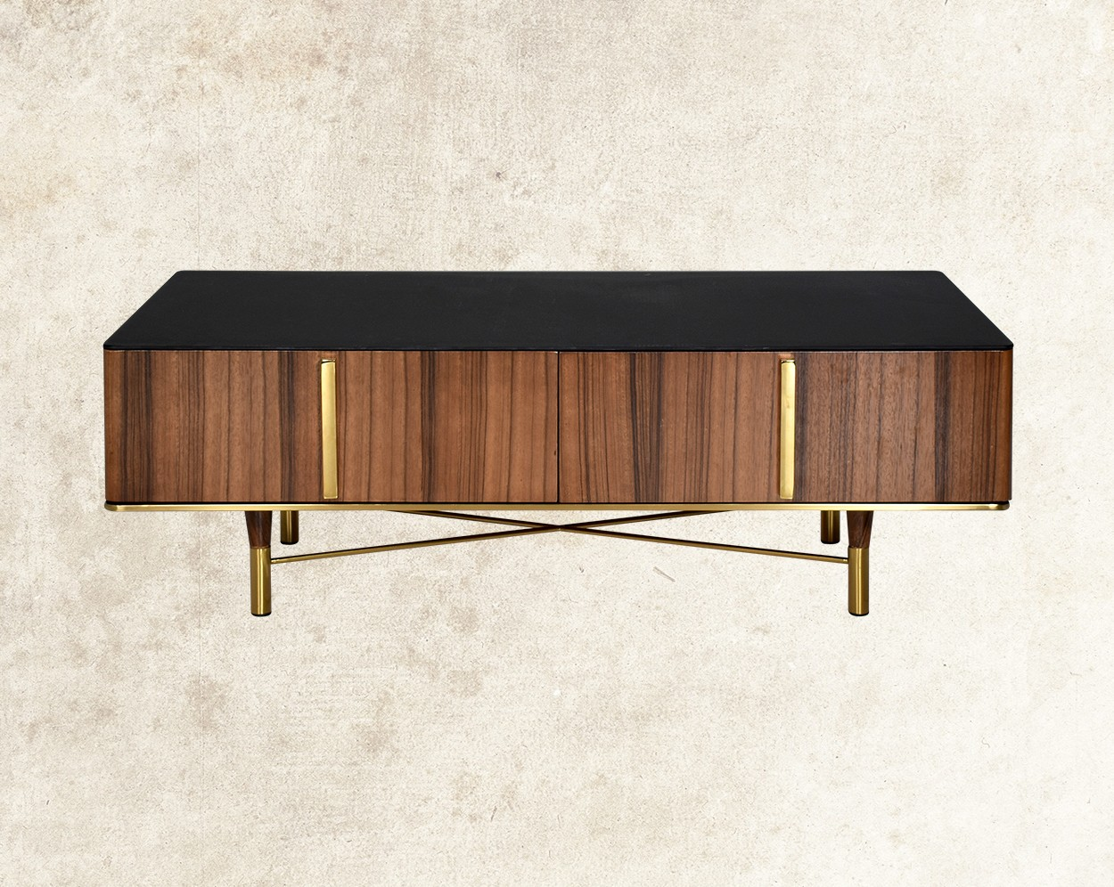 Austin Coffee Table With Black Frosted Glass Top  Front View