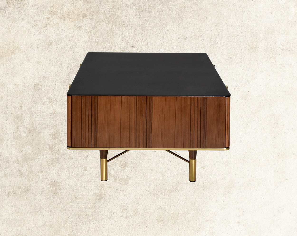 Austin Coffee Table With Black Frosted Glass Top  Side View