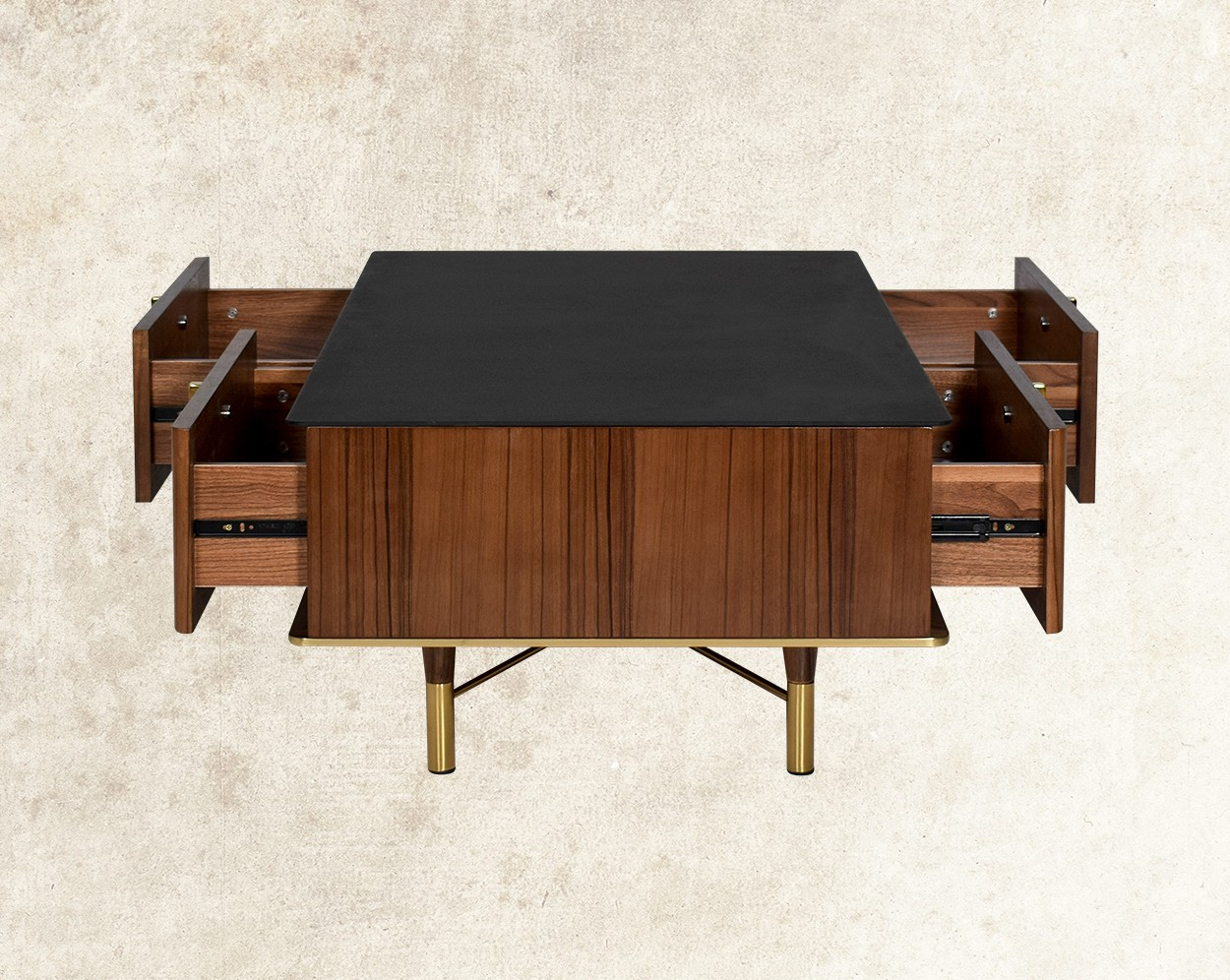 Austin Coffee Table With Black Frosted Glass Top  Open Drawer View