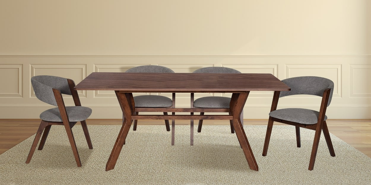 Simeon 6 Seater Walnut Dining Table With Albira Fabric Dining Chair Main Image