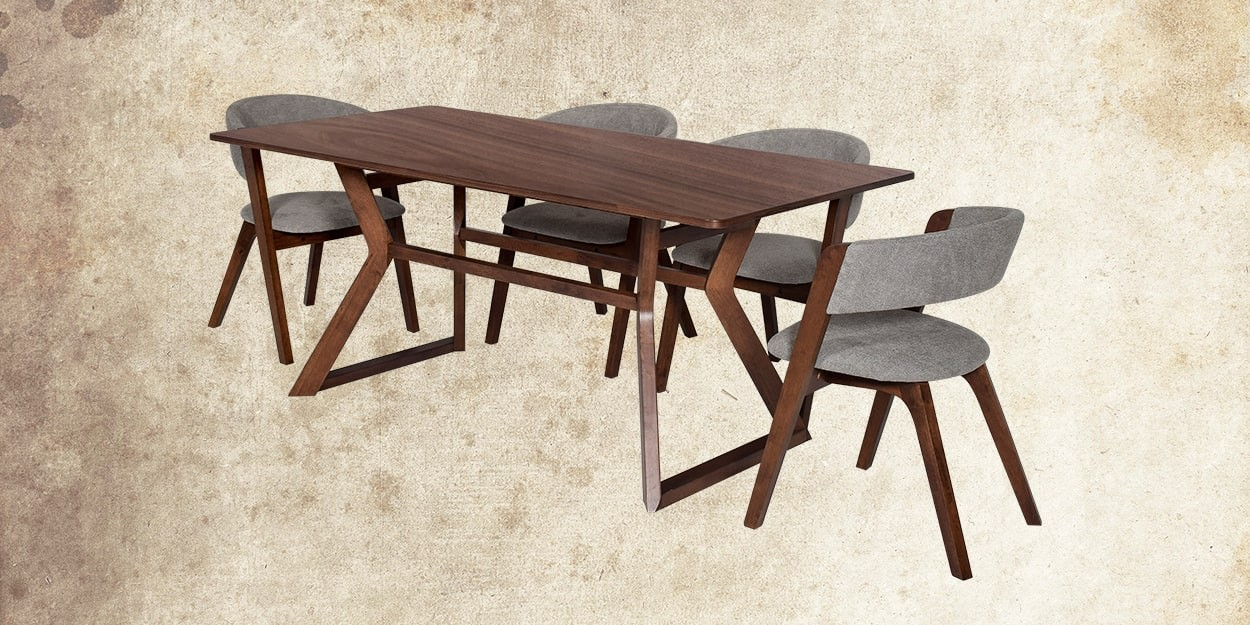 Simeon 6 Seater Walnut Dining Table With Albira Fabric Dining Chair Cross View