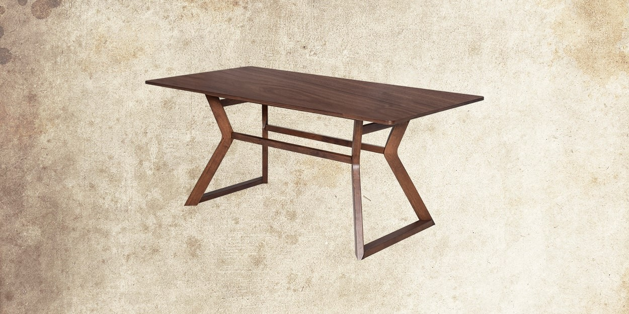 Simeon 6 Seater Walnut Dining Table With Albira Fabric Dining Chair Dining Table Cross View