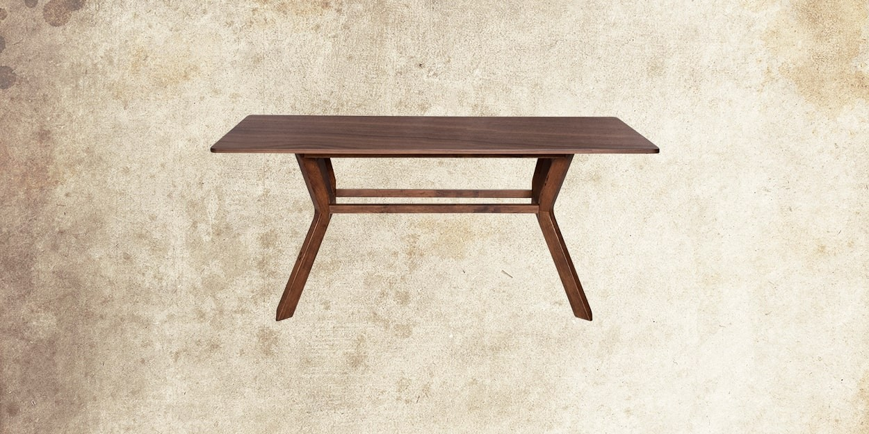 Simeon 6 Seater Walnut Dining Table With Albira Fabric Dining Chair Dining Table