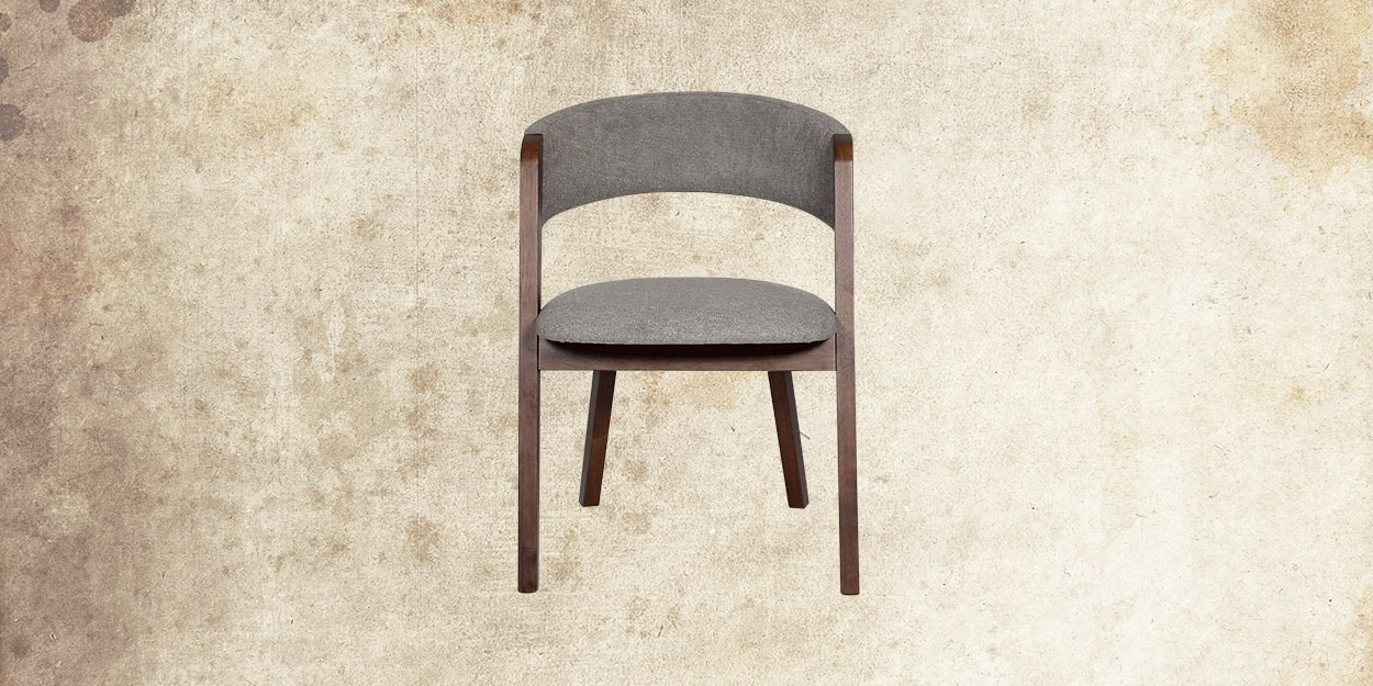 Simeon 6 Seater Walnut Dining Table With Albira Fabric Dining Chair Front View